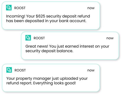 security deposit refund notification