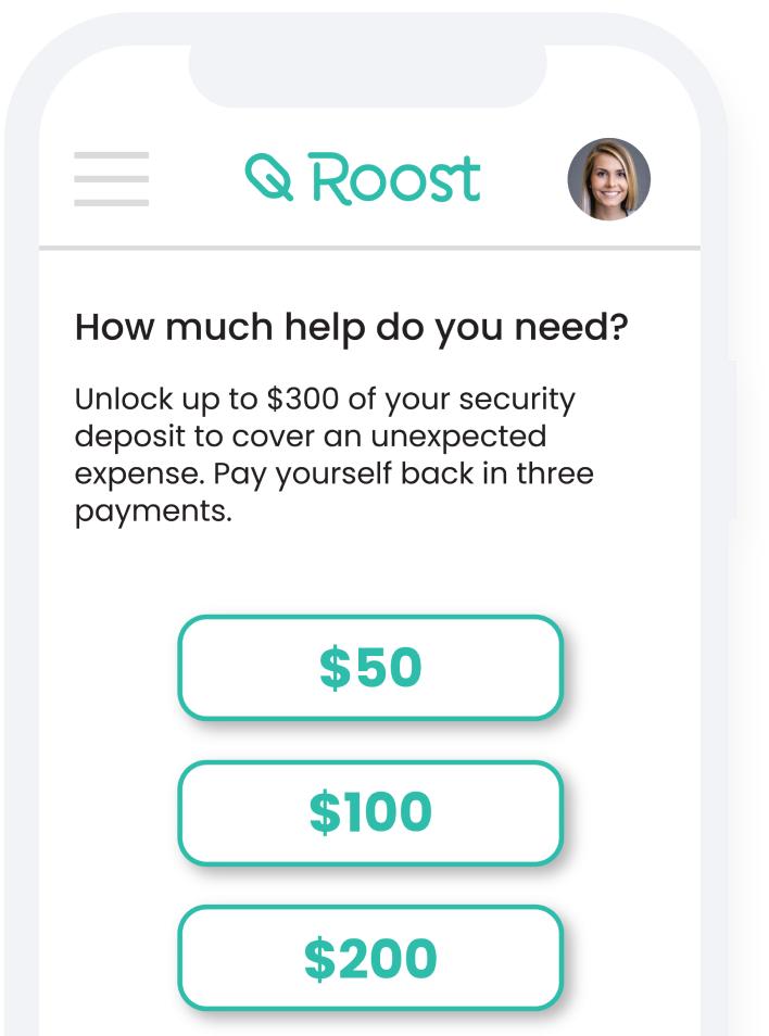 phone showing security deposit cash advance amounts